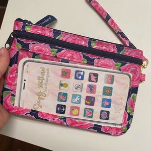 Simply southern flower phone wristlet clutch NWT
